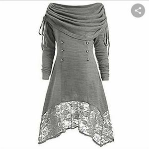 Lagenlook  avant-garde  ruched hooded dress